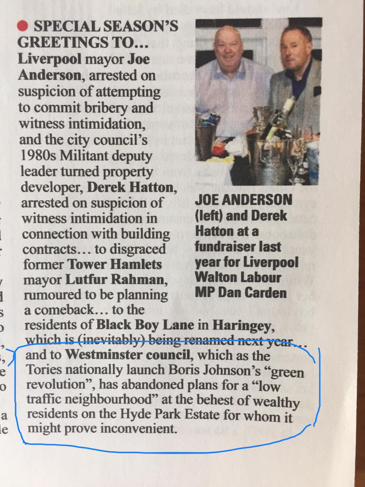A photo of Private Eye's article about the cancellation of the Hyde Park Estate LTN